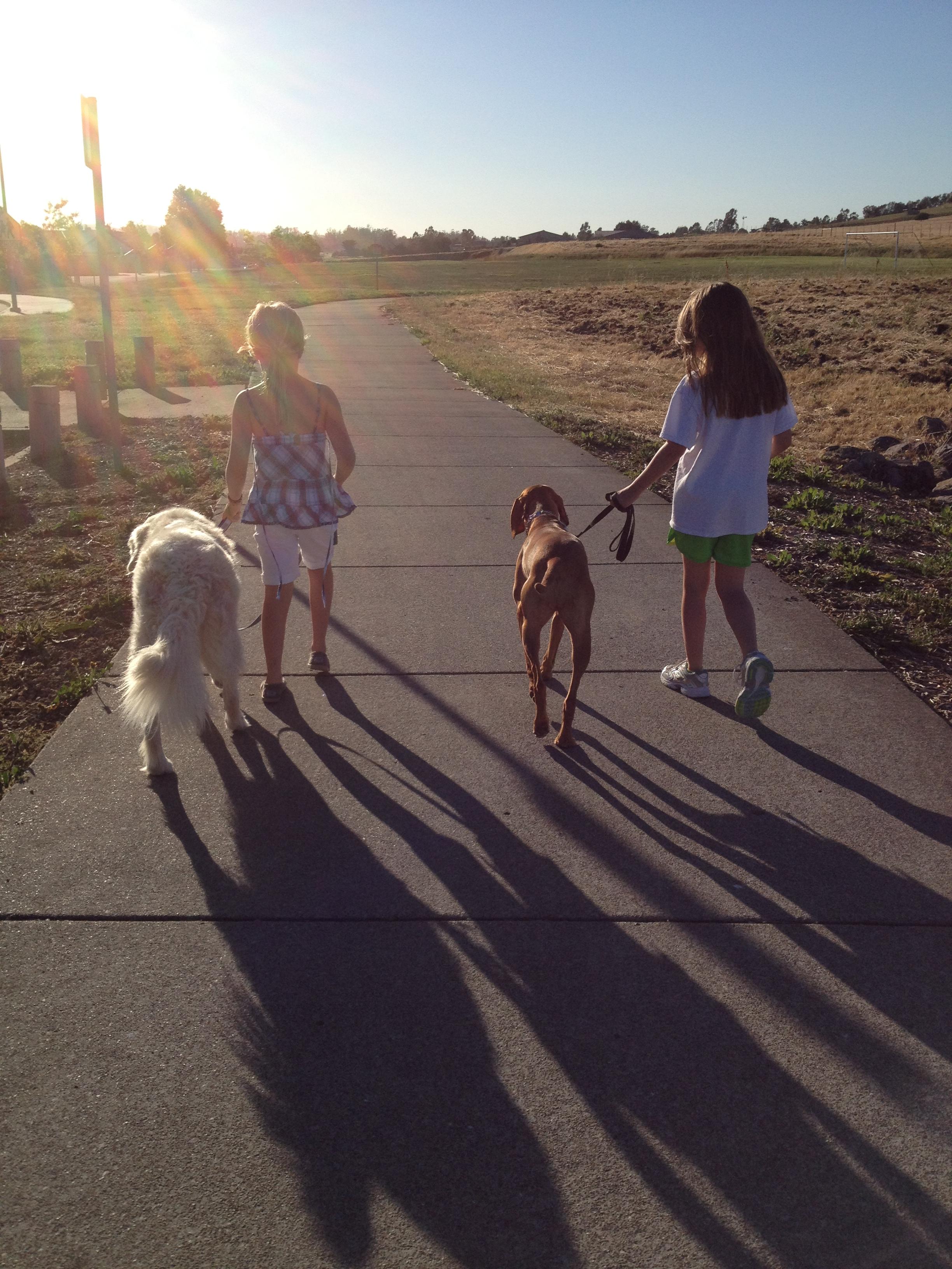 Girls walking dog